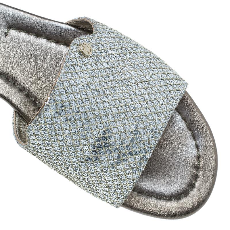 Jimmy Choo Silver Glitter Nanda Slides Size 38
