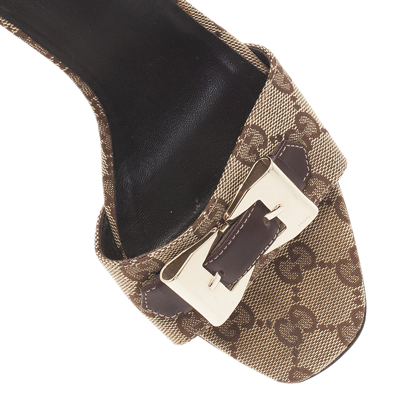 Gucci Brown Guccissima Canvas Buckle Detail Slides Size 38.5