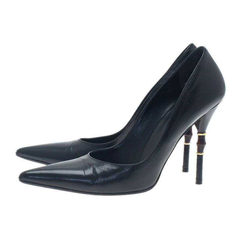 Gucci Black Leather Malibu Bamboo Heel Pointed Toe Pumps Size 38