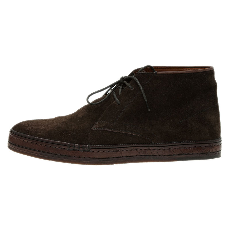 Berluti Brown Suede Lace Up Boots Size 42.5