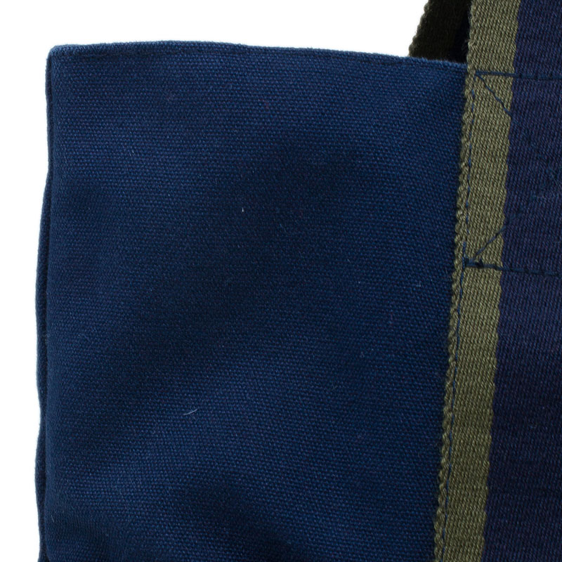 Hermes Navy Blue Canvas Fourre Tout Shopping Tote Bag