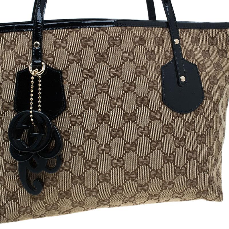 Gucci Beige GG Canvas Medium Jolie Charm Tote Bag