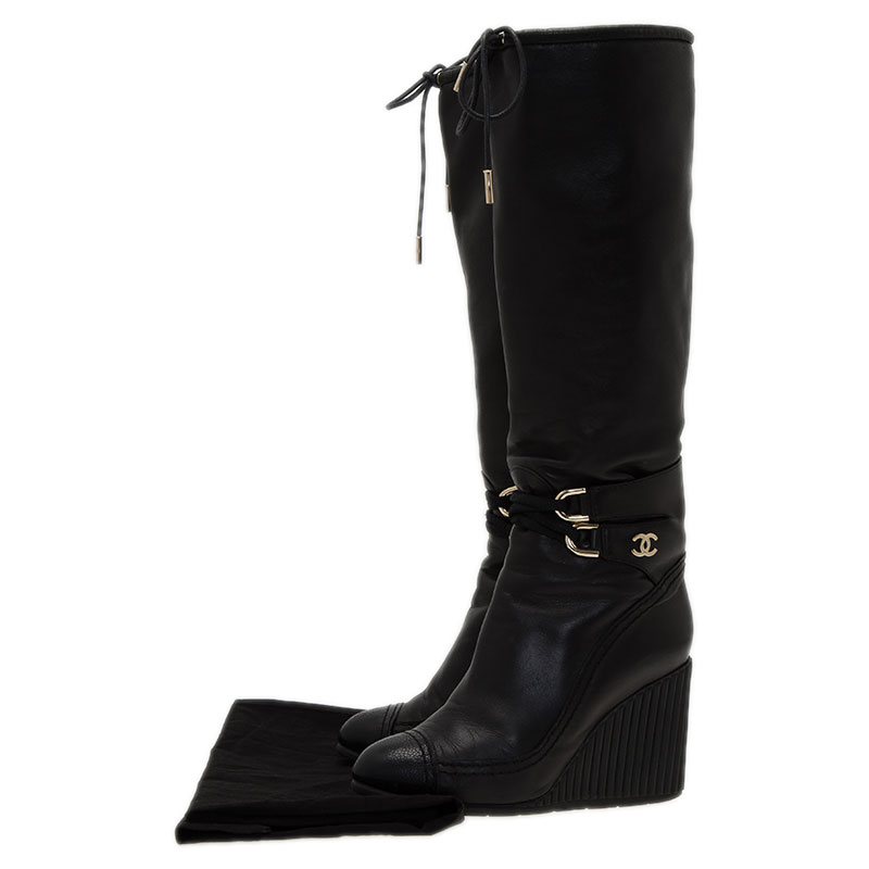 Chanel Black Leather Buckle Detail Wedge Tall Boots Size 37