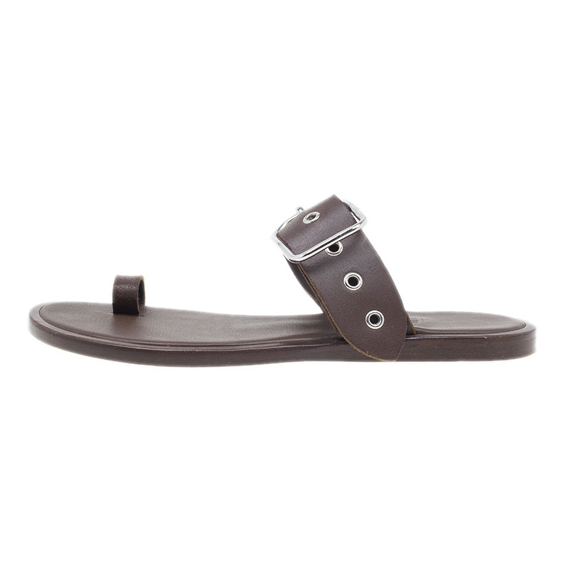 Hermes Brown Leather Toe Ring Buckle Sandals Size 37