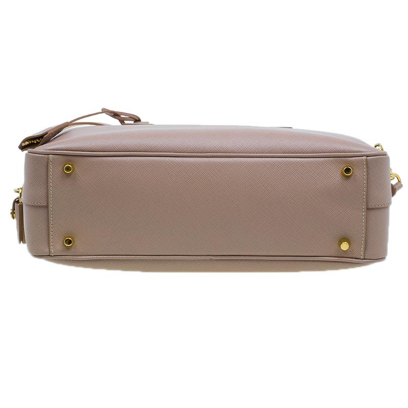 Prada Cammeo Saffiano Lux Leather Top Handle Bauletto Bag