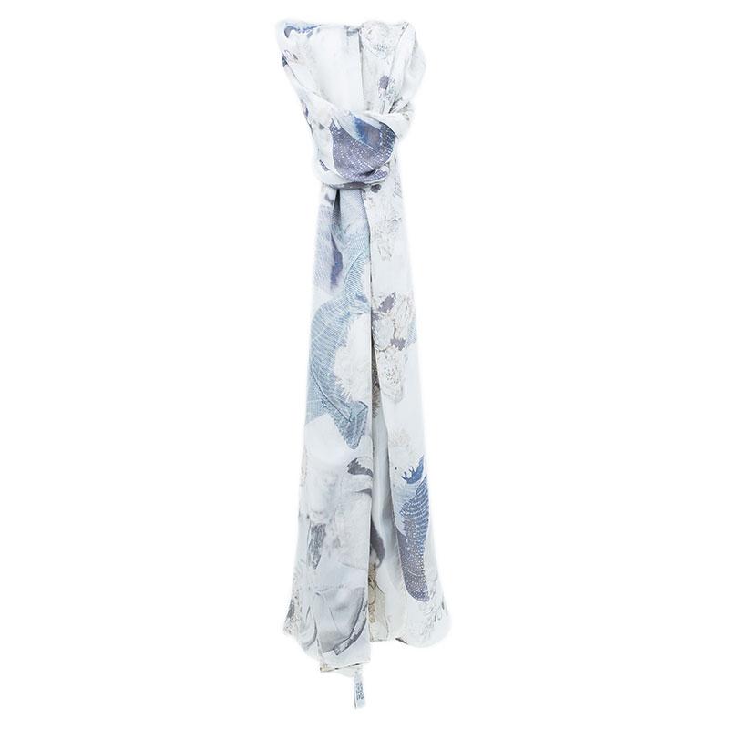 Dior White Silk Printed Scarf