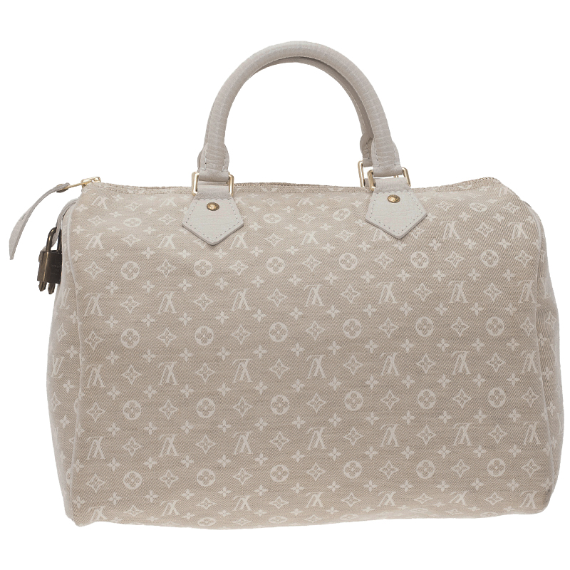 Louis Vuitton Cream Monogram Mini Lin Speedy 30 Bag