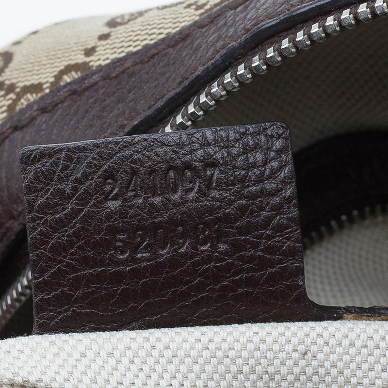 Gucci Beige/Brown Canvas Medium Techno Tag Boston Bag