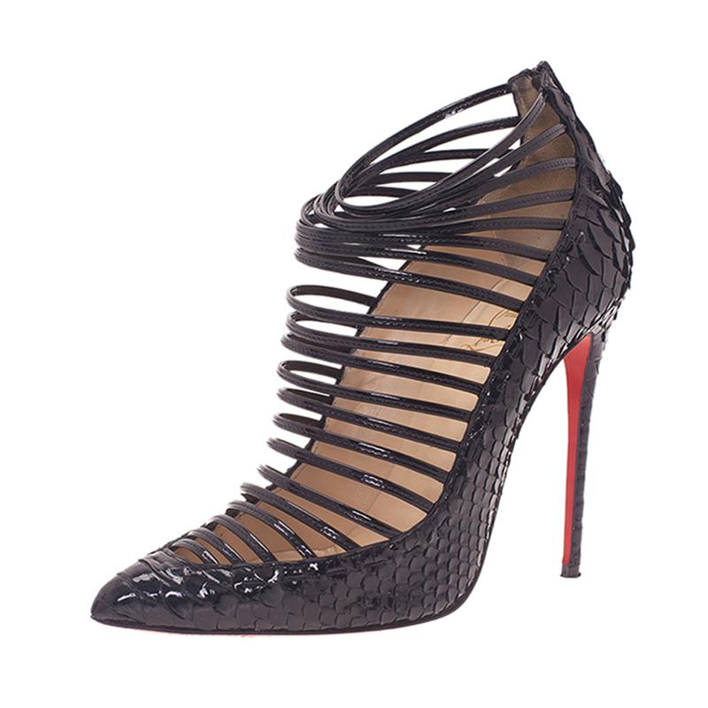 Christian Louboutin Black Python Gortik Strappy Ankle Boots Size 39