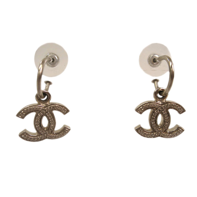 Chanel CC Silvertone Dangle Earrings