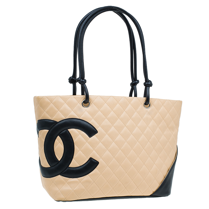 Chanel Beige/Black Quilted Leather Large Ligne Cambon Tote Bag