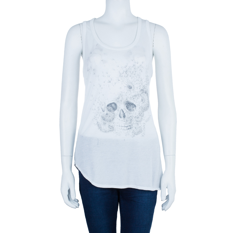 Alexander McQueen White Sleeveless Skull Top L