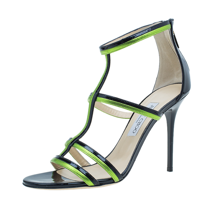 Jimmy Choo Green and Black Thistle Sandals Size 40