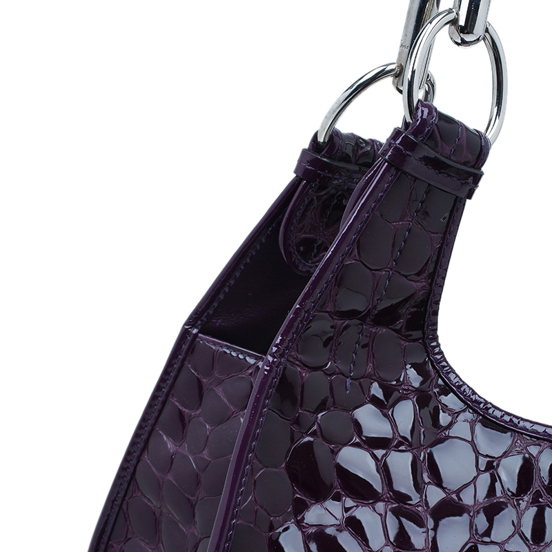 Dior Purple Croc Embossed Patent Leather 61 Tote Bag
