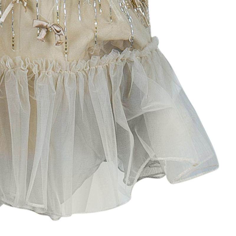 RED Valentino Beige Embellished Sleeveless Dress S