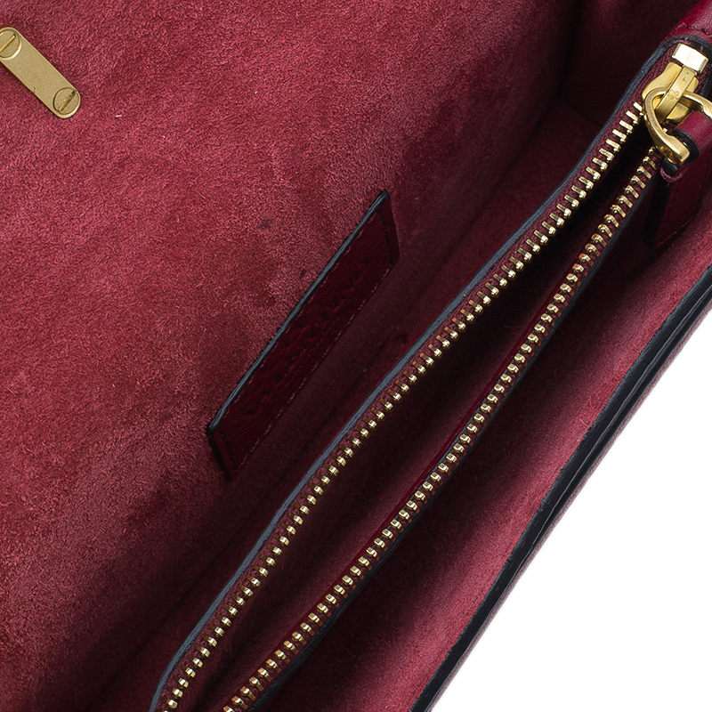 Valentino Red Leather Gryphon Fringed Clutch Bag