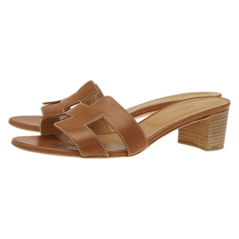 Hermes Brown Leather Oasis Slides Size 39