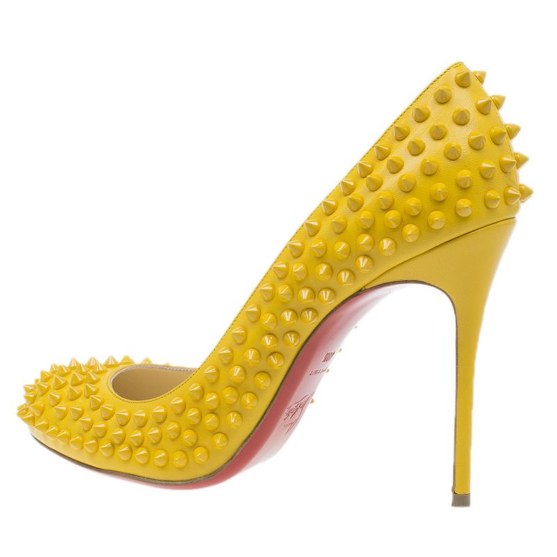 Christian Louboutin Yellow Patent Fifi Spike Pumps Size 40.5
