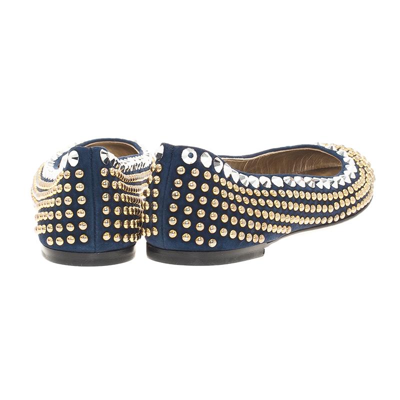 Giuseppe Zanotti Navy Blue Suede Studded Ballet Flats Size 38