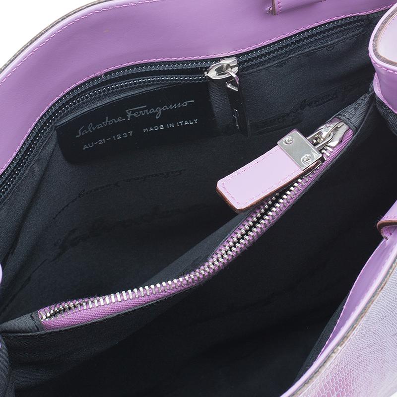Salvatore Ferragamo Lilla Python Embossed Leather Tote Bag