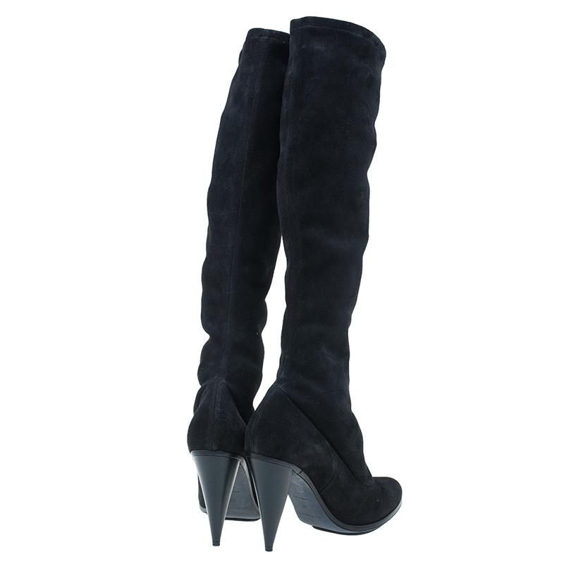 Balenciaga Black Suede Knee Boots Size 40