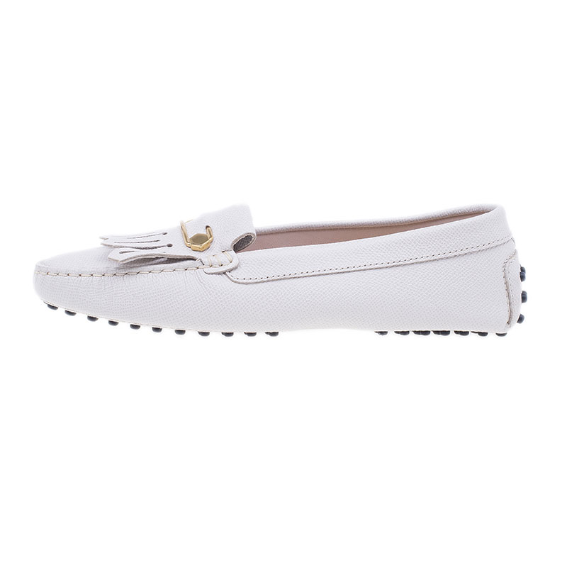 Tod's Cream Leather Heaven Fringe Loafers Size 37.5