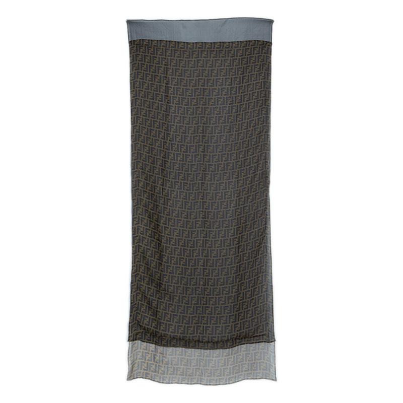 Fendi Two Tone Zucca Silk Stole