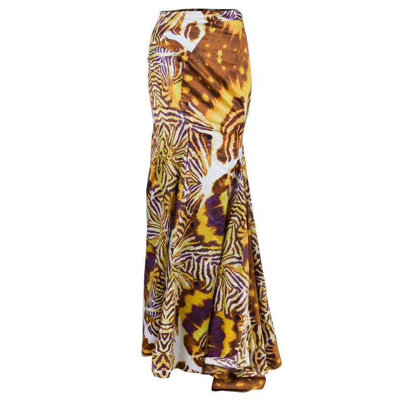 Just Cavalli Brown Animal Print Maxi Skirt M