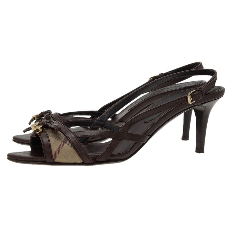 Burberry Brown Novacheck Canvas and Leather Slingback Sandals Size 38