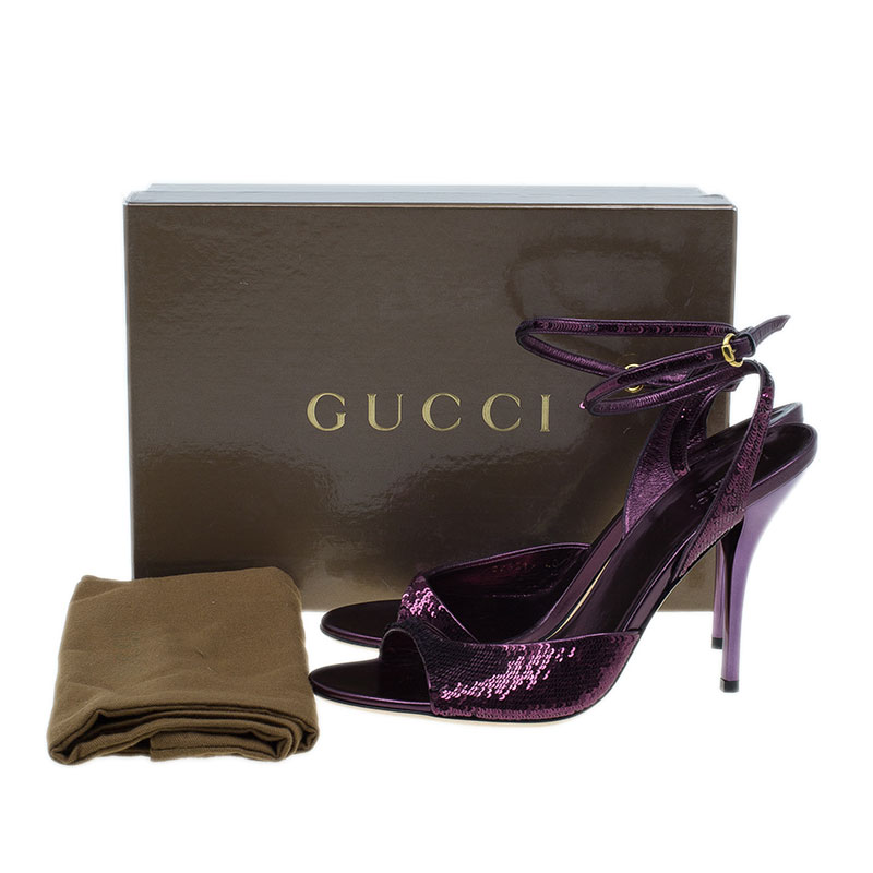Gucci Purple Sequins Ankle Strap Sandals Size 40