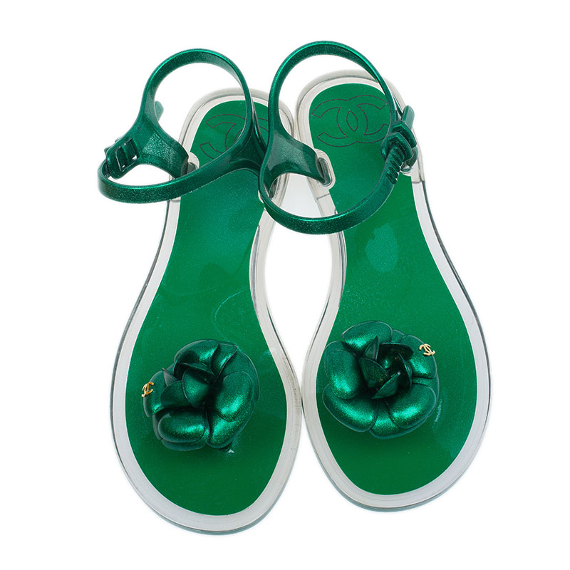 Chanel Green Flower Sandals Size 38