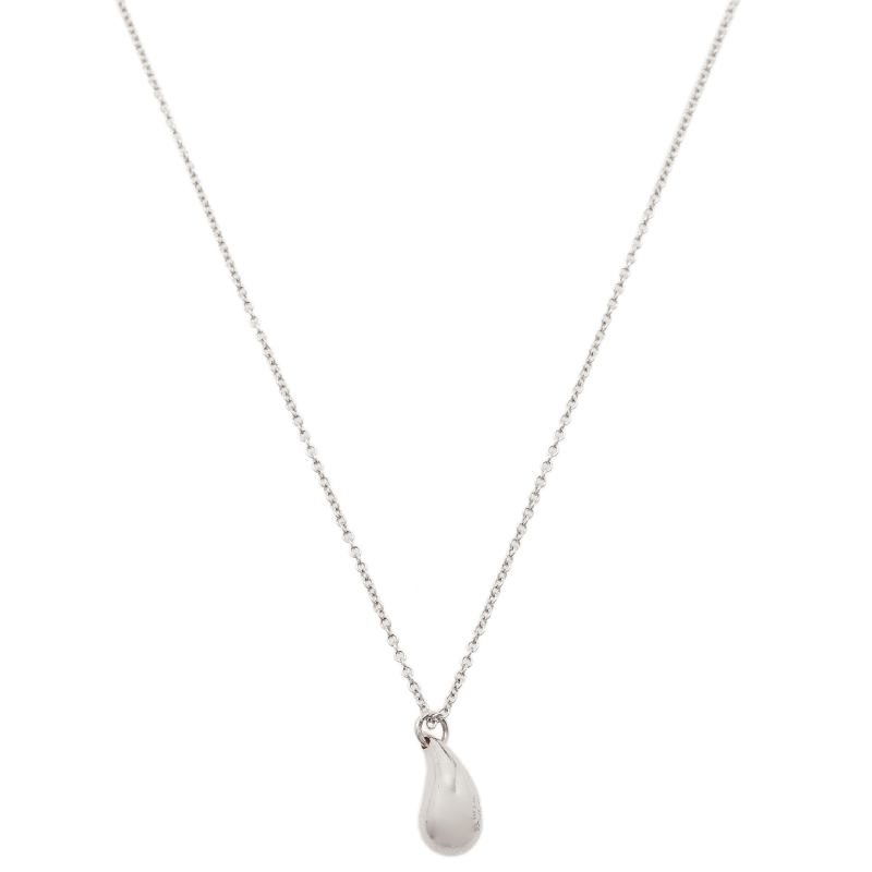 Tiffany & Co. Elsa Peretti Teardrop Silver Pendant Necklace