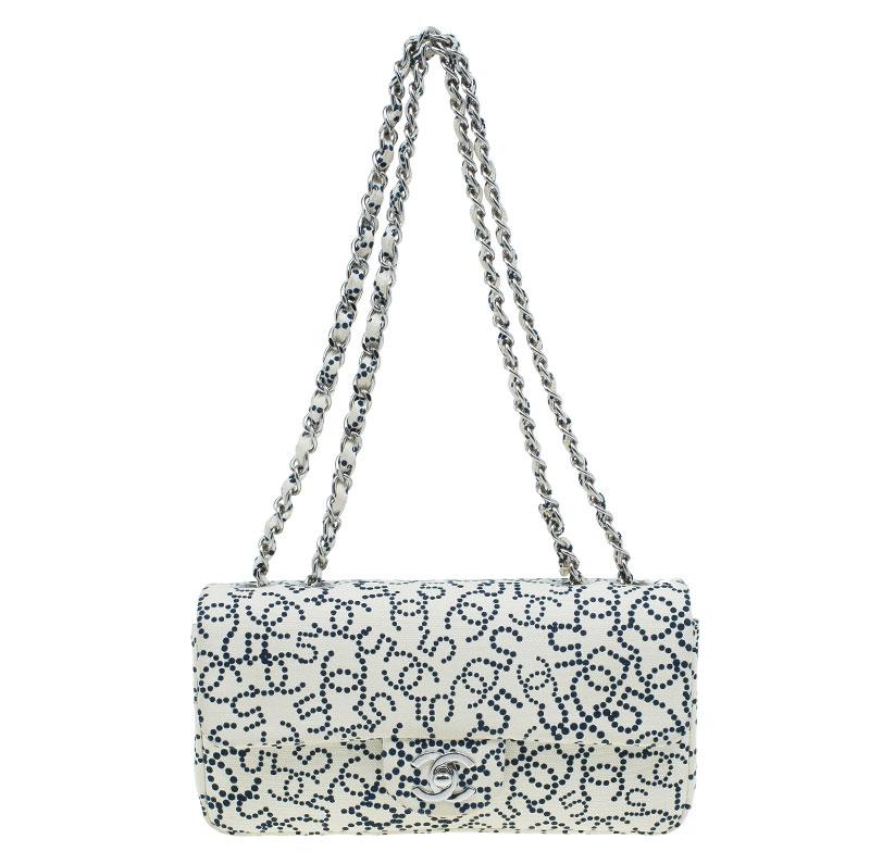 Chanel Cream Canvas Small CC 5 Print Flap bag