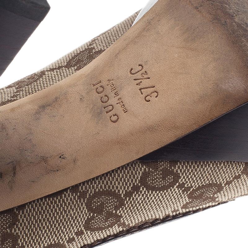 Gucci Beige Guccissima Canvas Heart Crest Tribeca Platform Pumps Size 37.5