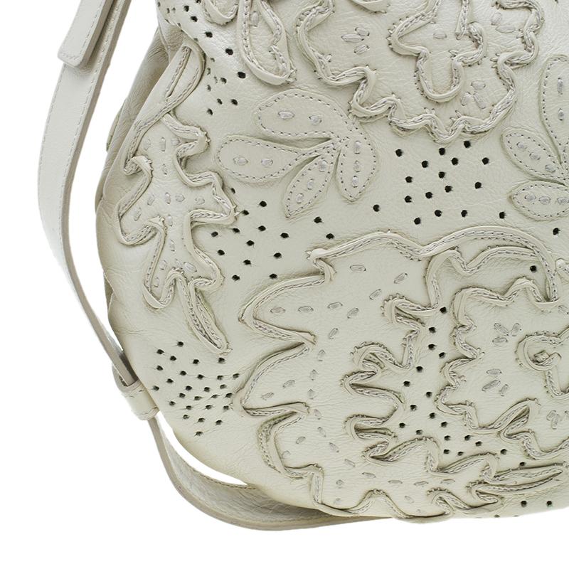 Saint Laurent Paris Cream Leather Limited Edition Mombasa Horn Hobo Bag