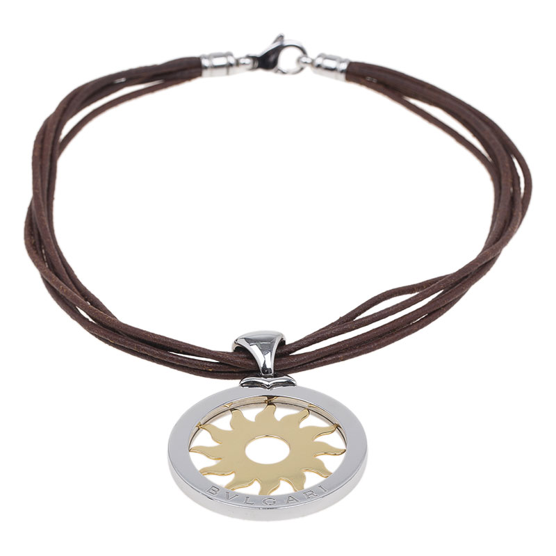Bvlgari Tondo Sun Gold and Stainless Steel Large Pendant Necklace