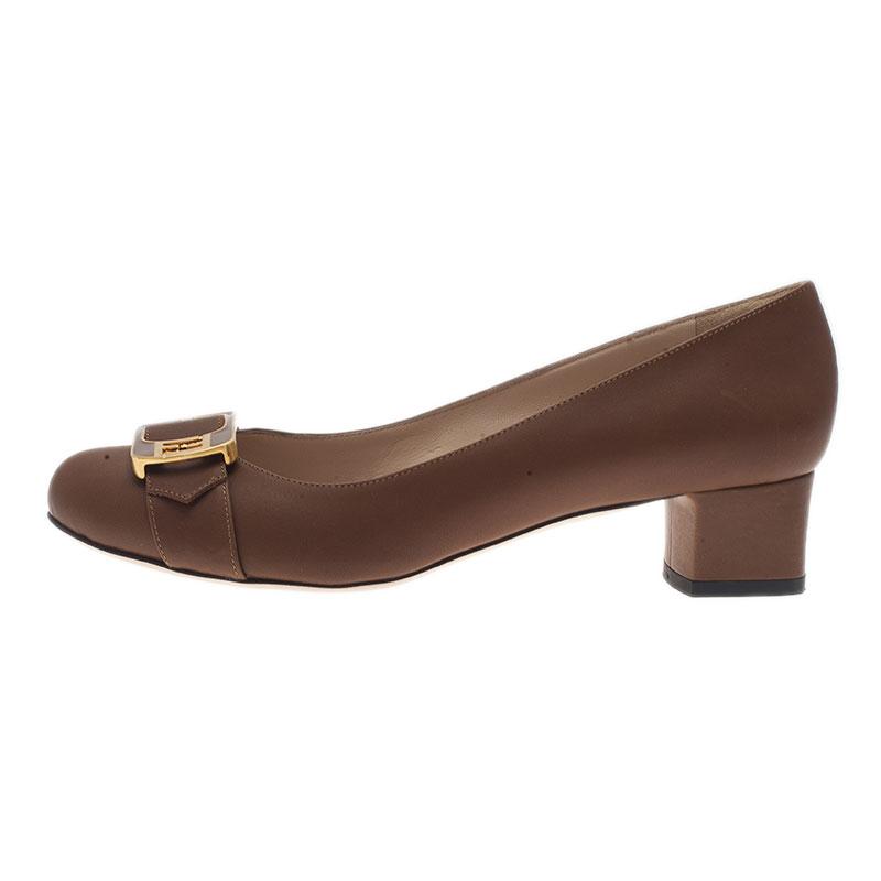 Fendi Brown Leather Chameleon Buckle Block Heel Pumps Size 40