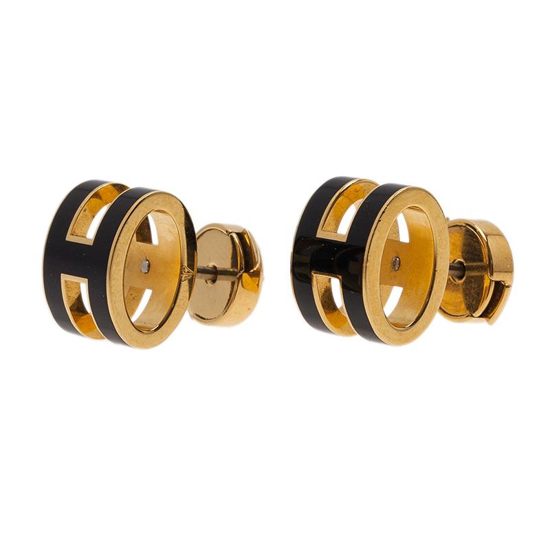Hermes Pop H Black Lacquered Gold Tone Stud Earrings