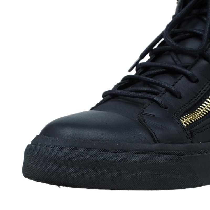 Giuseppe Zanotti Black Leather High Top Sneakers Size 39