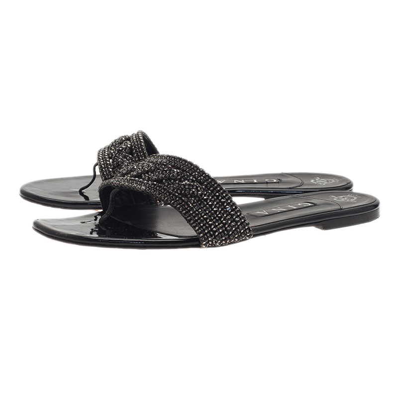 Gina Black Athena Crystal Flat Sandals Size 40