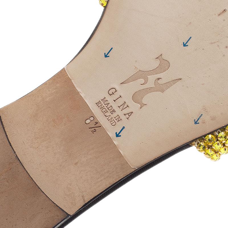 Gina Gold Embellished Athena Slides Size 41.5