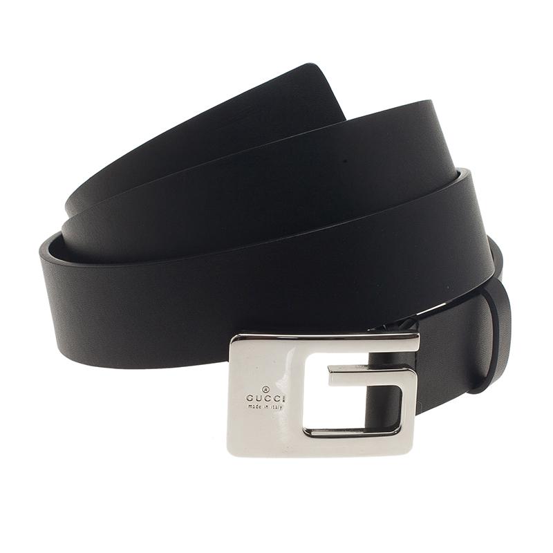 Gucci Black Leather G Buckle Belt 100CM