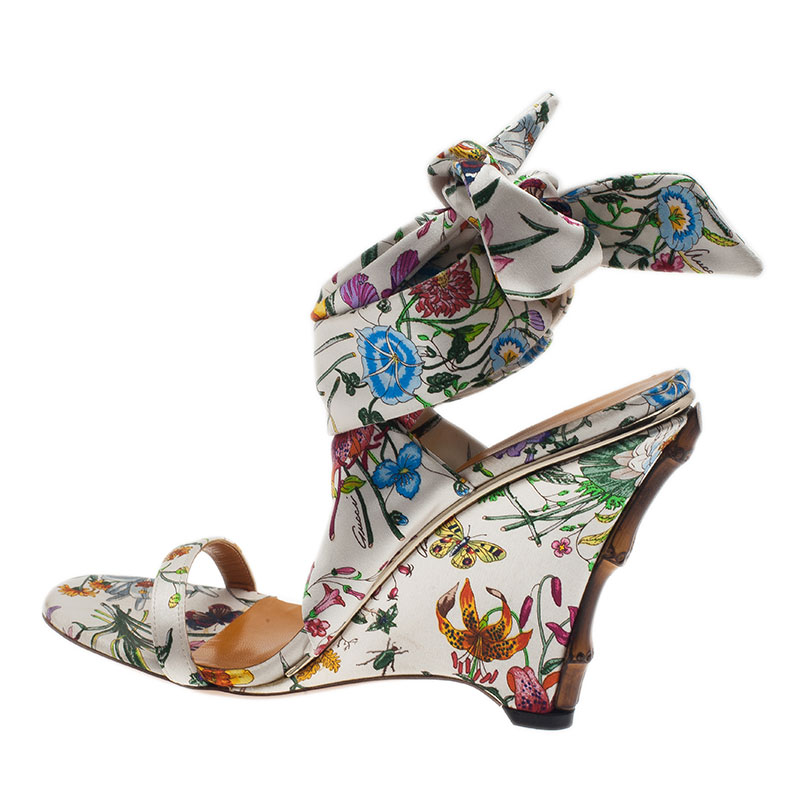 Gucci Flora Satin Ankle Strap Wedge Sandals Size 38
