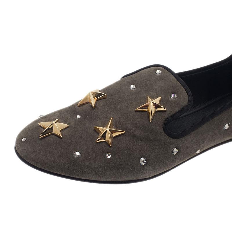 Giuseppe Zanotti Grey Suede Star Studded Smoking Slippers Size 40.5