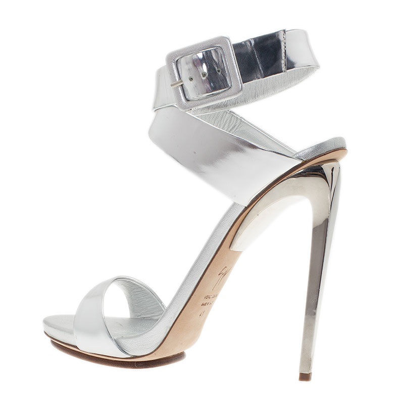 Giuseppe Zanotti Silver Metallic Leather Ankle Strap Sandals Size 41