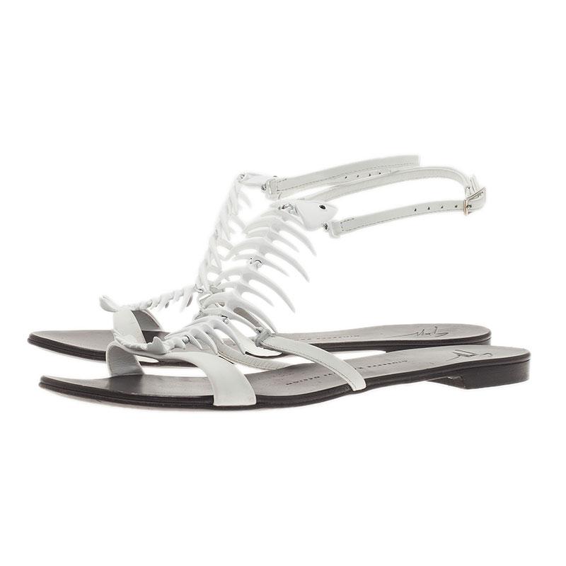 Giuseppe Zanotti White Fishbone Flat Sandals Size 38