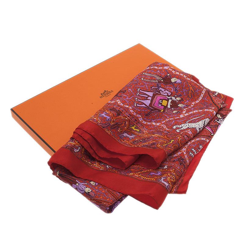 Hermes Multicolor Avec L'Aimable Autorisation du Lalbhai Dalpatbhai Indology Giant Silk Twill Square Scarf
