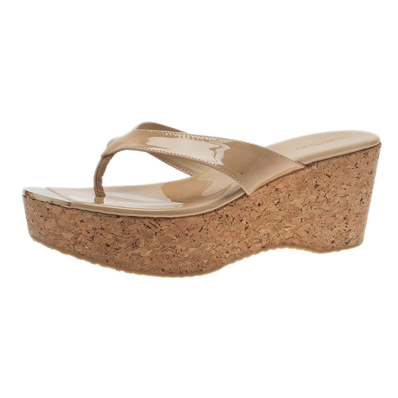 Jimmy Choo Beige Patent Leather Pathos Thong Cork Wedge Slides 41