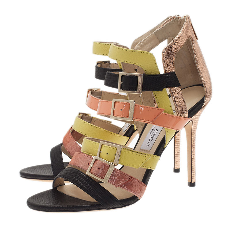 Jimmy Choo Multicolor Leather Booster Strappy Sandals Size 40