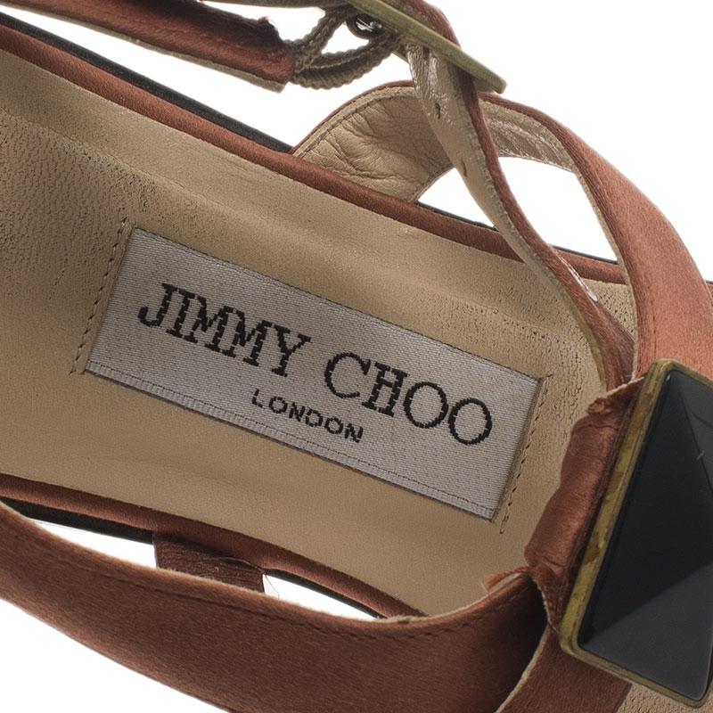 Jimmy Choo Orange Embellished Satin Thong Sandals Size 38